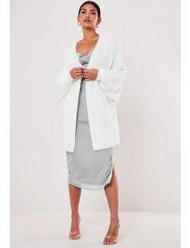 Cárdigan Con Mangas Batwing Suave En Blanco by Missguided