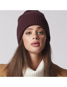 Love And Lore Ribbed Beanie Hat Eggplant by Love & Lore