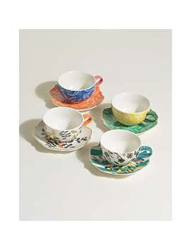 Zoloto China Teacups & Saucers Set Of Four by Olivar Bonas