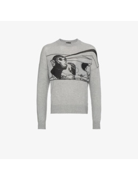 Prada Ss18 Laser Monkey Sweater Grey Size 52 ( L Xl ) by Prada  ×