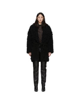 Black Faux Fur Stitches Coat by Alanui