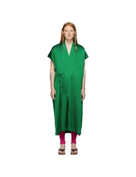 Green Satin Kimono Dress by Balenciaga