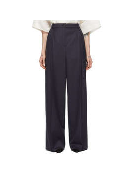 Navy Wool Striped Oversized Trousers by Nina Ricci