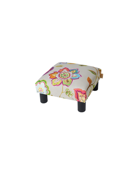 Jules Square Accent Footstool Ottoman, Off White Floral by Jennifer Taylor