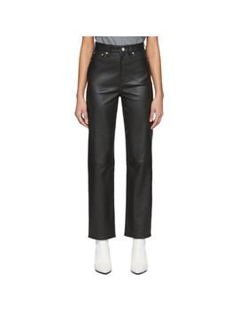 Black Leather Jane Super High Rise Cigarette Trousers by Rag & Bone