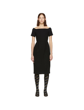 Black Wool Crepe Off The Shoulder Dress by Fendi