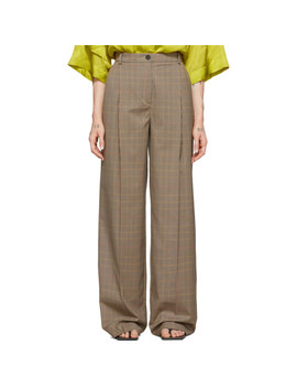 Beige Houndstooth Trousers by Nina Ricci