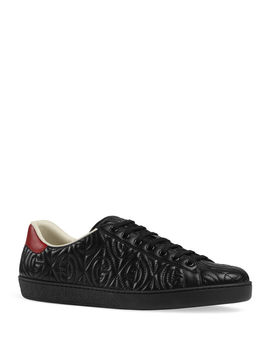 Men's Ace Rhombus Stitched Gg Leather Sneakers by Gucci