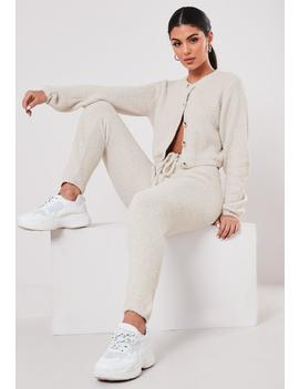 Cream Co Ord Soft Touch Knitted Joggers by Missguided