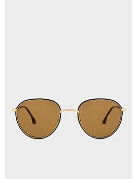 Paul Smith Black Ink And Gold 'albion' Sunglasses by Paul Smith