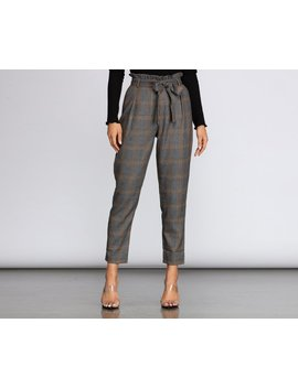 Plaid Paper Bag Tapered Pants by Windsor