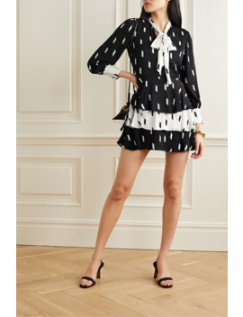 Dasha Pussy Bow Tiered Printed Crepe Mini Dress by Alice + Olivia