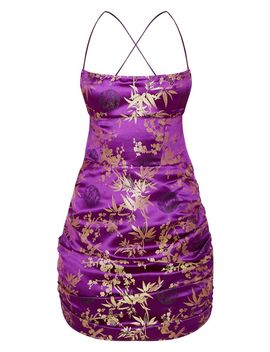 Purple Jacquard Floral Strappy Back Ruched Bodycon Dress by Prettylittlething
