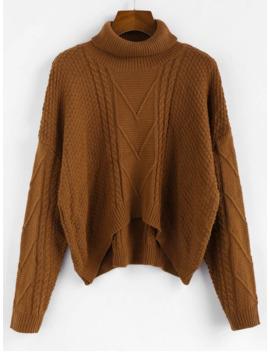 Popular Salezaful Drop Shoulder High Low Turtleneck Sweater   Coffee L by Zaful
