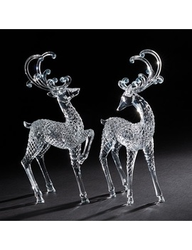 "Set Of 2 Clear Standing And Trotting Christmas Reindeer Acrylic Figurines 12.5"" by Roman"