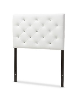 Viviana Modern And Contemporary Faux Leather Upholstered Button   Tufted Headboard   Twin   White   Baxton Studio by Baxton Studio
