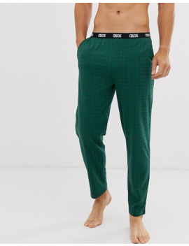 Asos Design Lounge Pyjama Bottom In Khaki With Grid Check And Branded Waistband by Asos Design