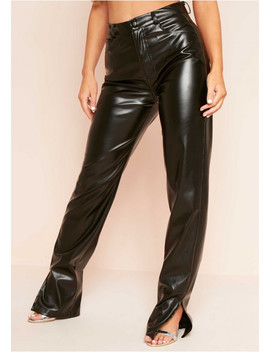 Perrie Black Faux Leather Straight Leg Split Detail Trousers by Missy Empire