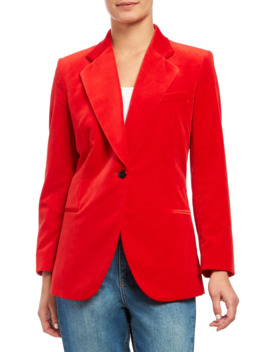 Fitted Velveteen Blazer by Theory