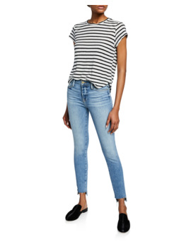 Le High Skinny Jeans With Staggered Raw Hem by Frame