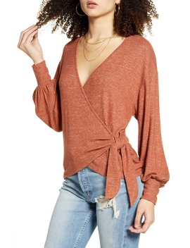 Bishop Sleeve Hacci Knit Wrap Top by All In Favor