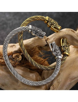 Men Wolf Head Bracelet Viking Jewelry Fashion Accessories Gold/Silver Plated Viking Bracelet Men Wristband Cuff Bracelets by Wish