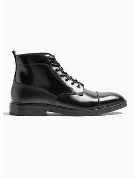 Black Real Leather Venice Boots by Topman