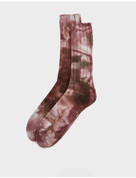 Two Tone Uneven Dye Crew Sock In Brown by Anonymous Ism Anonymous Ism