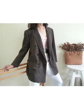 Dunhill Vintage Brown Wool Blazer Double Breasted Blazer Designer Blazer Minimalist Blazer Formal Blazer Boyfriend Jacket Sport Coat Medium by Etsy