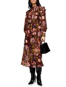 Fallen Floral Jacquard Long Sleeve Midi Dress by Topshop