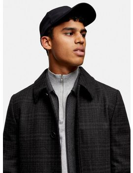 Black And White Check Mac With Wool by Topman