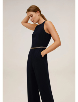 Beaded Detail Waist Jumpsuit by Mango