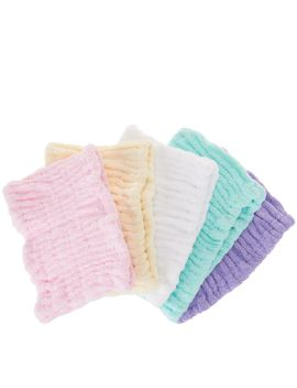 Set Of 5 Solid Color 100% Cotton Turbie Hair Band by Qvc