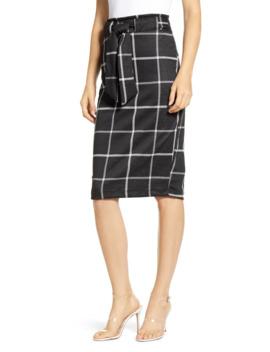 Glen Plaid Tie Waist Knit Pencil Skirt by Sentimental Ny