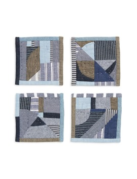 Set Of 4 Linen & Cotton Patchwork Coasters by Thompson Street Studio