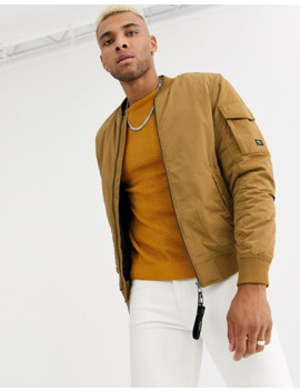 Pull&Bear Join Life Padded Bomber Jacket In Mustard by Pull&Bear