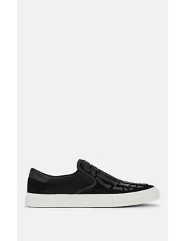 Men's Suede & Leather Slip On Sneakers by Amiri