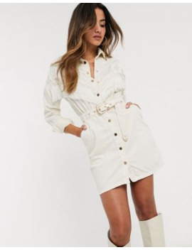 River Island Denim Dress In Cream by River Island