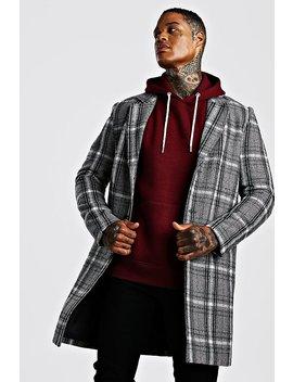 Check Wool Look Overcoat by Boohoo