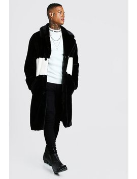 Luxe Faux Fur Overcoat With Stripe by Boohoo