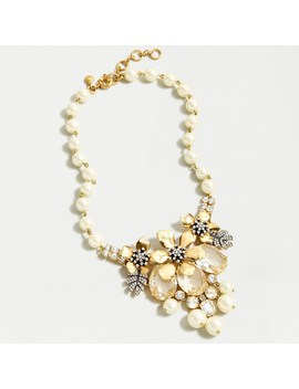 Pavé Winter Flower Cluster Necklace by J.Crew