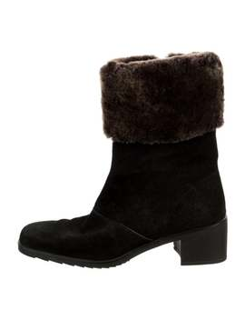 Fur Trimmed Mid Calf Boots by Salvatore Ferragamo