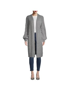 Time And Tru Drop Shoulder Open Front Cardigan With Balloon Sleeve Women's by Time And Tru