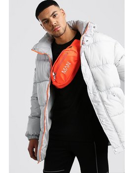 Drop Shoulder Puffer Coat With Neon Details by Boohoo