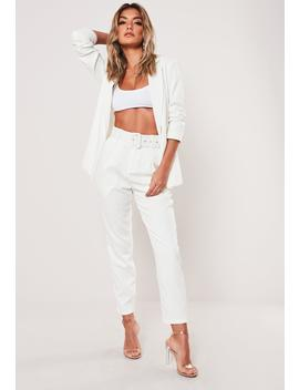 White Cigarette Belted Pants by Missguided
