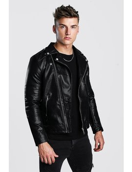 Faux Leather Biker With Quileted Detail by Boohoo