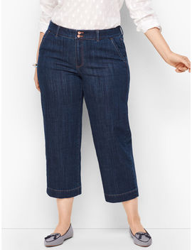 Wide Leg Crop Jeans   Deep Azure by Talbots