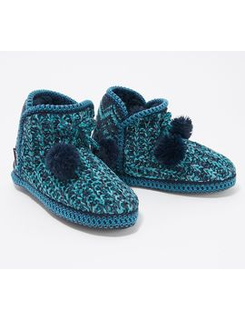 Muk Luks Chenille Alexi Slipper Boot W/ Faux Fur Lining And Poms by Muk Luks