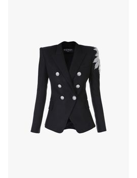 Double Breasted Black Blazer With Silver Embroidery by Balmain