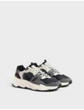 Men's Contrast Sneakers With Piece Detailing by Bershka